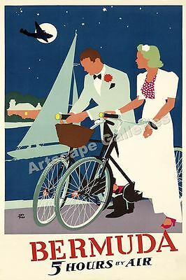 Bermuda Nighttime Bicycles Vintage Style Travel Poster - 24x36