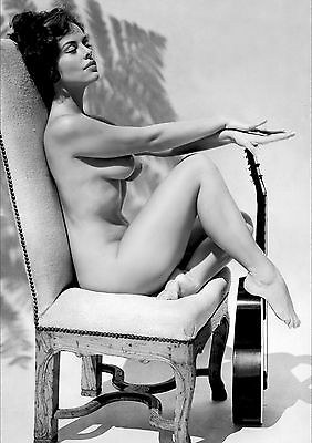 1960s Pinup Nude Diane Webber Sitting in Old Chair and Guitar 8 x 10 Photograph