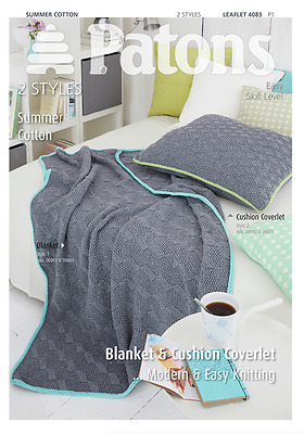 Patons Blanket & Cushion Knitting Pattern Summer Cotton 4083