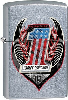 Zippo HD Harley No. 1 Shield Symbol With Wings Street Chrome Lighter 29347 *NEW*