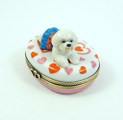New French Limoges Box  Bichon Frise Dog Puppy In Cute Dress Valentines Heart S