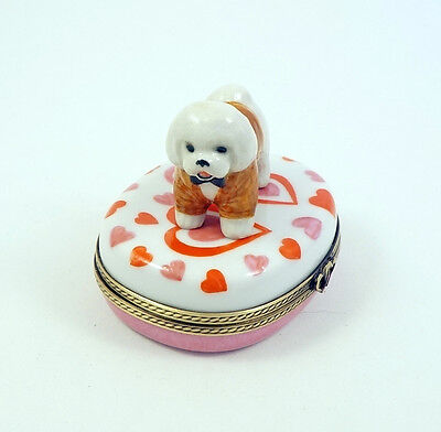 NEW FRENCH LIMOGES BOX DRESSED UP BICHON FRISE DOG PUPPY on VALENTINES HEART S