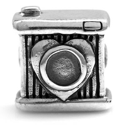 925 Sterling Silver Smile Camera European Charm Bead