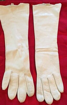 Vintage White Kid Leather Long Gloves Women's Italy Size 6