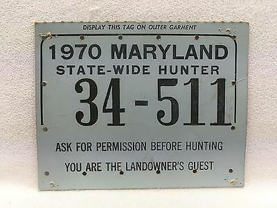 Vintage 1970 Maryland STATE-WIDE HUNTER Hunting License Heavy Card Stock w Stamp