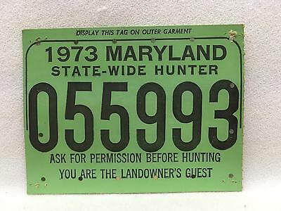 Vintage 1973 Maryland STATE-WIDE HUNTER Hunting License Heavy Card Stock w Stamp