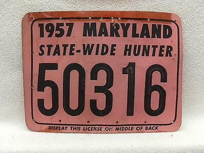 Vintage 1957 Maryland STATE-WIDE Hunting License Heavy Card Stock