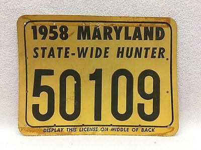 Vintage 1958 Maryland STATE-WIDE Hunting License Heavy Card Stock