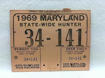 Vintage 1969 Maryland STATE-WIDE HUNTER Hunting License Heavy Card Stock w Tags