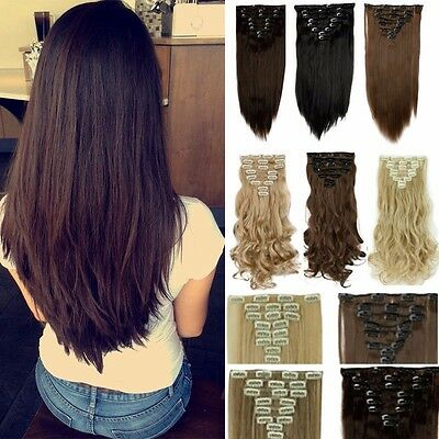 100% Real Full Head 8 piece Clip in on Hair Extensions 18clips thick as Human AU