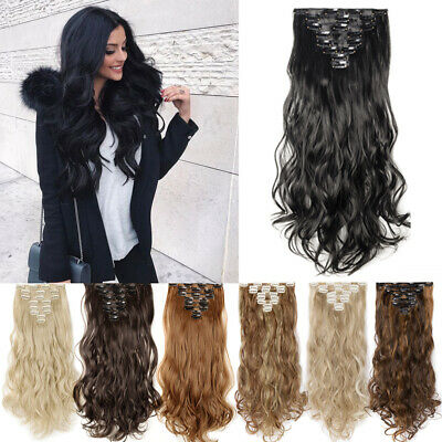 100% Real Natural Full Head Clip in Hair Extensions 18clips on Straight Wavy WG3