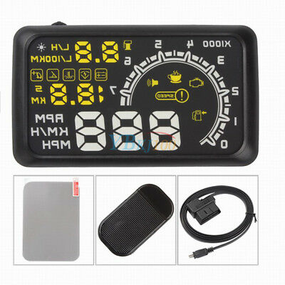 "5.5"" GPS HUD Head Up Display OBD II 2 Projector Speed Alarm Warning W/ Manual EB"