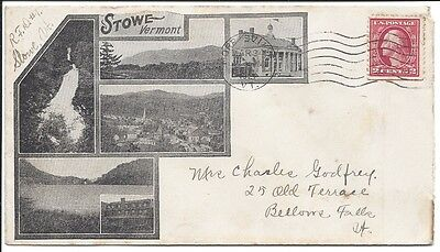 1921 Souv. Envelope, Stowe, Vt,  w/VIews; Sent From Morrisville to Bellows Falls