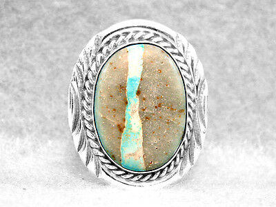 Navajo Ring Size 7 Boulder Turquoise Native American Indian Sterling Silver Z