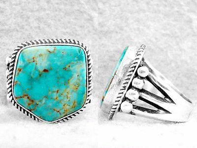 Mens Navajo Ring Turquoise Mtn Size 12 Sterling Silver Native American Z
