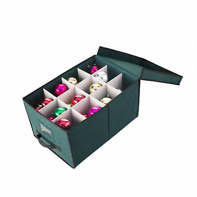 """Elf Stor Green Christmas Ornament Storage Chest Holds 24 Balls w/ 4"""" Dividers"""