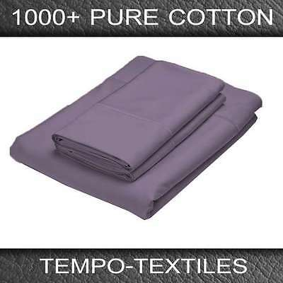 1000TC 100% Egyptian Cotton Pillowcase And Fitted Sheet in GRAPE QUEEN Size