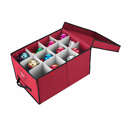 """Elf Stor Red Christmas Ornament Storage Chest Holds 24 Balls w/ 4"""" Dividers"""