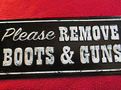 BOOTS & GUNS SHOES Womans Mens TIN SIGN HOME STORE Cowboy WALL DECOR  METAL