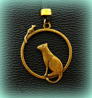 CAT and Mouse PENDANT NECKLACE Retro Kitty Kitten Cat ANTIQUE Art Deco style
