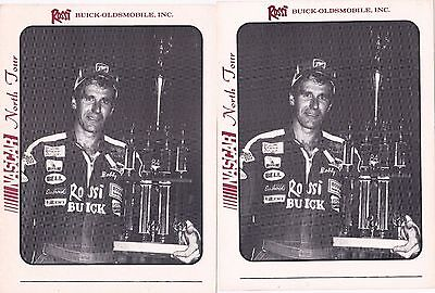 """Lot of 2 Bobby Dragon NASCAR Buick Oldsmobile Rossi Racing 5"""" x 7""""  Cards"""