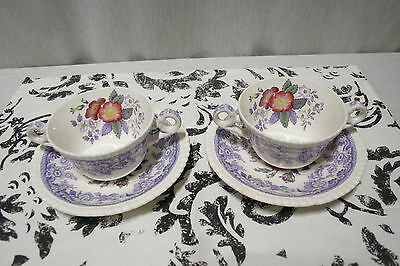 Two Copeland Spode England Mayflower Cream Soup Bowls with under plates 1951