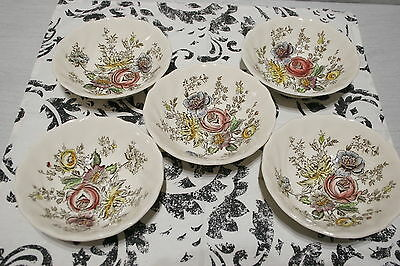 """LOT of Five  6 1/4"""" Round Coupe Cereal Bowls, Johnson Bros. Sheraton  MINT!"""