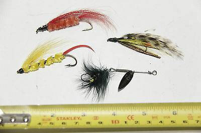 Vintage ASSORTMENT of 4 FLY FISHING Lures FLIES, (lot #15)