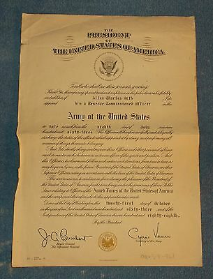 1963 US Army Certificate Reserve Officer Appointment -Secretary Cyrus Vance Auto