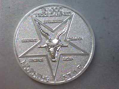 "Lucifer Morning Star 3D Coin - 1 1/2"" - silver plated brass, Satans evil ram"