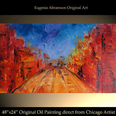 "CITYSCAPE Huge PAINTING CANVAS 48""x24""ORIGINAL OIL ABSTRACT ART Eugenia Abramson"