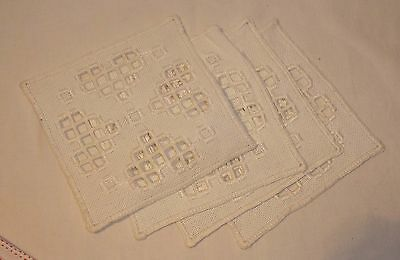 4 hardanger doilies / coasters - white on white, embroidery, cutwork,collectible
