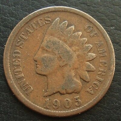 USA 1905 INDIAN HEAD CENT : OLD BRONZE COIN ...t133