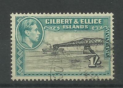 1939 Sg 51, 1/- Brownish Black & Turquoise Blue, perf 13.5, Very fine used. [13]