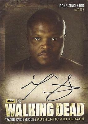 "Walking Dead Season 3 - A5 Irone Singleton ""T-Dog"" Auto / Autograph Card"