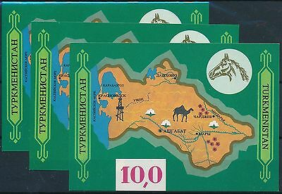 [ST76001] Turkmenistan 1992 Map Good lot of 3 sheets IMPERF. very fine MNH