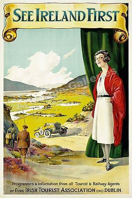 1928 See Ireland First Vintage Style Irish Travel Poster - 20x30