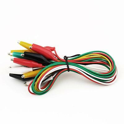 10 x Alligator / Crocodile Clip Coloured Test Leads Double Ended Test Leads BF