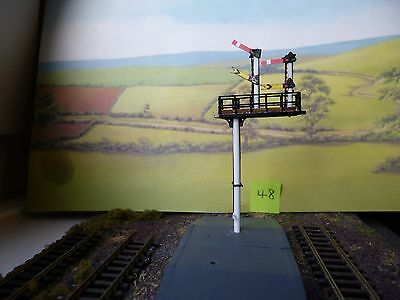 TRAIN RAILWAY N GAUGE SIGNAL Upper quadrant 2-way HOME/DISTANT ROUND posts [48