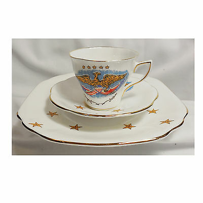 ROSINA CROWNFORD Heritage 3 pc Bone China Cup Saucer Plate Set Eagles Flags