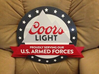 Coors light beer armed forces tin metal sign
