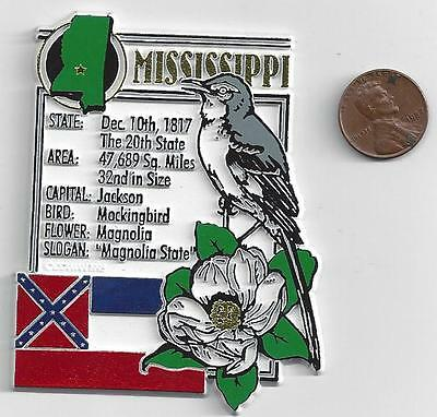 MISSISSIPPI  STATE MONTAGE FACTS MAGNET with state  bird  flower  and flag,