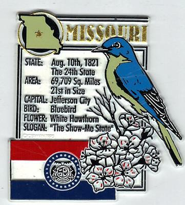 MISSOURI  STATE MONTAGE FACTS MAGNET with state  bird  flower  and flag,