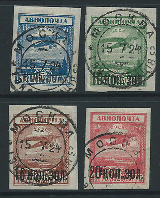 Russia 1924 surcharged aviation set used