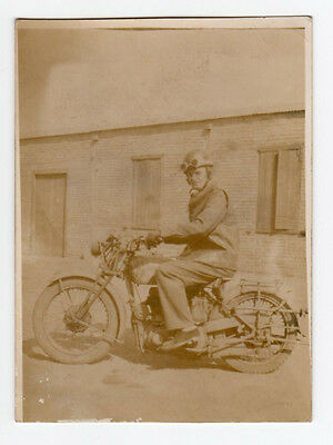 Vintage Real Photo RPPC Man with goggles on Old Motorcycle dated Feb 1945  A/F