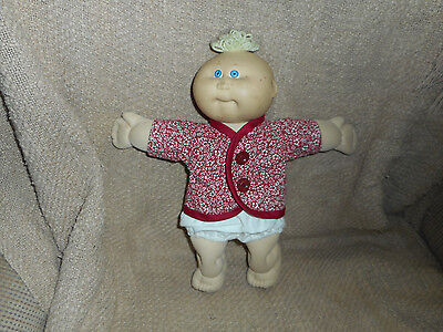 Maroon Floral Top And Cream Panties Fit Cabbage Patch Preemies (New)