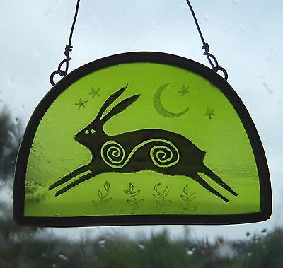 Green Spiral Hare Stained Glass Leaded Painted Panel Hanger Suncatcher