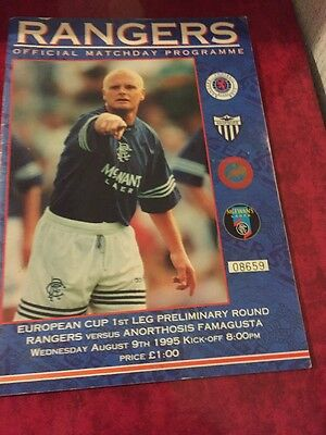 Rangers V Anorthosis Famagusta 9th August 1995 Champions League Qualifier