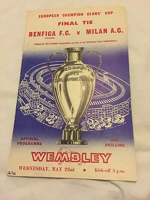Benfica V AC Milan 22nd May 1963 European Cup Final