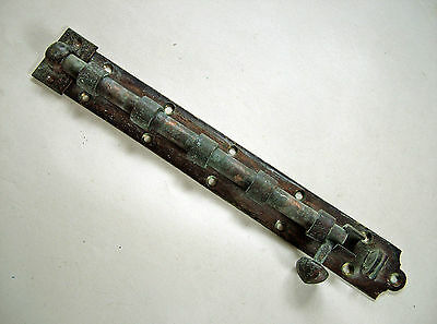 """Large Victorian 12"""" Brass Door Bolt With Iron Keep."""